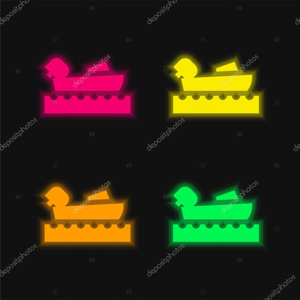 Nautica quattro colori incandescente icona vettoriale al neon