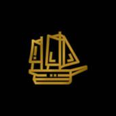 Loď pozlacené kovové ikony nebo logo vektor