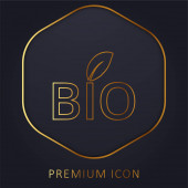 Bio Energy Symbol golden line premium logo or icon