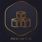 3d modell arany vonal prémium logó vagy ikon