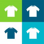 Black Male T Shirt Flat čtyři barvy minimální ikona sada