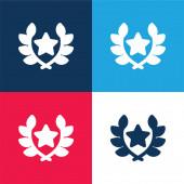 Díj kék és piros négy szín minimális ikon készlet