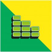 Cihlová zeď Zelená a žlutá moderní 3D vektorové logo ikony