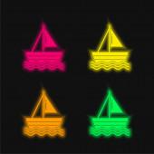 Loď čtyři barvy zářící neonový vektor ikona