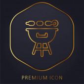 BBQ Grill arany vonal prémium logó vagy ikon