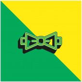 Fliege Grünes und gelbes modernes 3D-Vektorsymbol-Logo