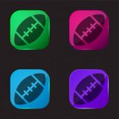 Amerikai futball négy színű üveg gomb ikon