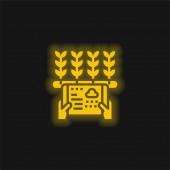 Žlutá zářící neonová ikona zemědělství