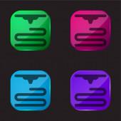 3D tiskárna čtyři barevné skleněné tlačítko ikona