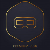 3D brýle zlatá čára prémie logo nebo ikona