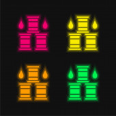 Barrel vier Farben leuchtenden Neon-Vektor-Symbol