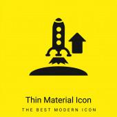 Aufsteigende Rakete minimal leuchtend gelbes Materialsymbol