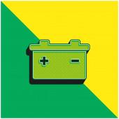 Batterie mit positiven und negativen Polen-Symbolen Grünes und gelbes modernes 3D-Vektor-Symbol-Logo
