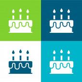 Narozeninový dort Byt čtyři barvy minimální ikona nastavena