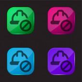 Vier-Farb-Glasknopf-Symbol verboten