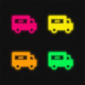 AD Van čtyři barvy zářící neonový vektor ikona