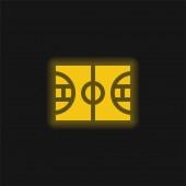 Basketbalová žlutá zářící neonová ikona