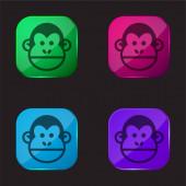 Zvíře čtyři barvy skla ikona tlačítka