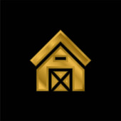 Scheune vergoldet metallisches Symbol oder Logo-Vektor