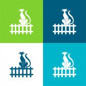 Black Cat On Fence Flat four color minimal icon set