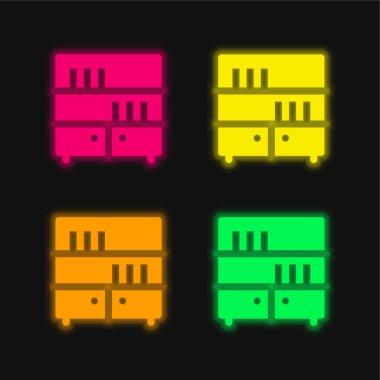 Bookcase four color glowing neon vector icon stock vector