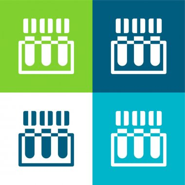 Blood Test Flat four color minimal icon set stock vector