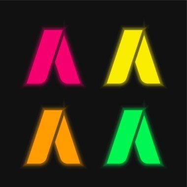 Adwords four color glowing neon vector icon