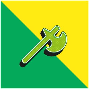 Battle Axe Green and yellow modern 3d vector icon logo stock vector