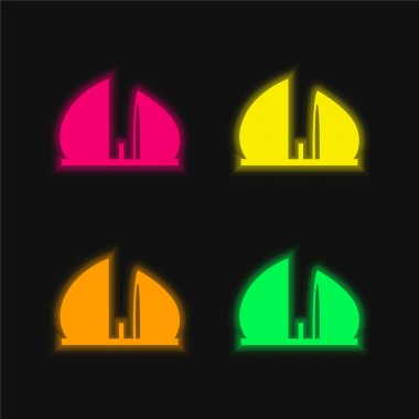 Al Shaheed Monument Of Iraq four color glowing neon vector icon