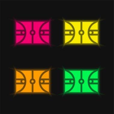 Basketball Court four color glowing neon vector icon stock vector