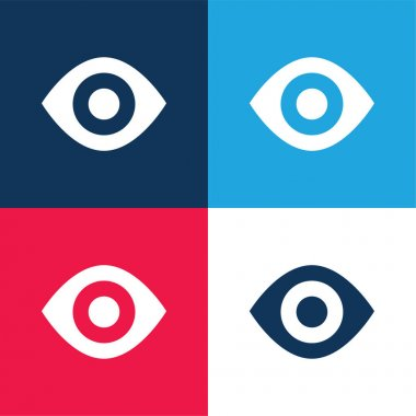 Black Eye blue and red four color minimal icon set stock vector