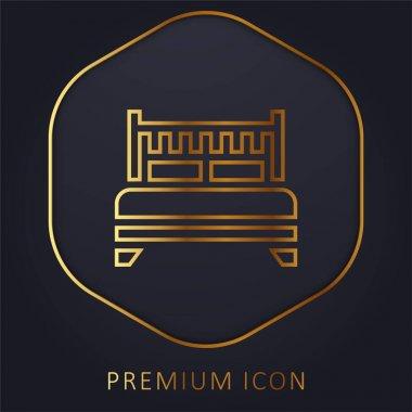 Bed golden line premium logo or icon stock vector