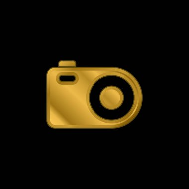 Analogical Photo Camera gold plated metalic icon or logo vector stock vector