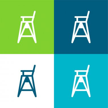 Baby Chair Flat four color minimal icon set stock vector
