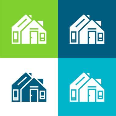 Address Flat four color minimal icon set stock vector
