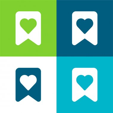 Bookmark Flat four color minimal icon set stock vector