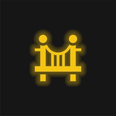 Bridge yellow glowing neon icon