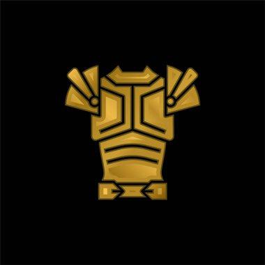 Armor gold plated metalic icon or logo vector stock vector