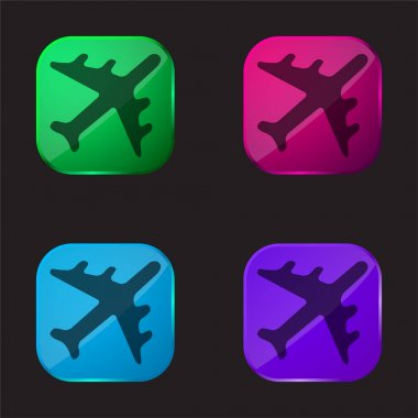 Black Airplane four color glass button icon stock vector