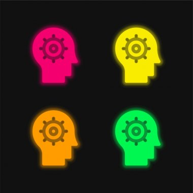 Artificial Intelligence four color glowing neon vector icon stock vector