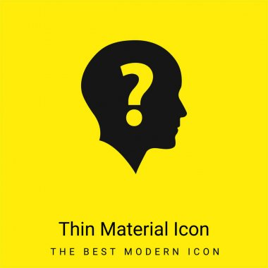 Bald Head With Question Mark minimal bright yellow material icon stock vector