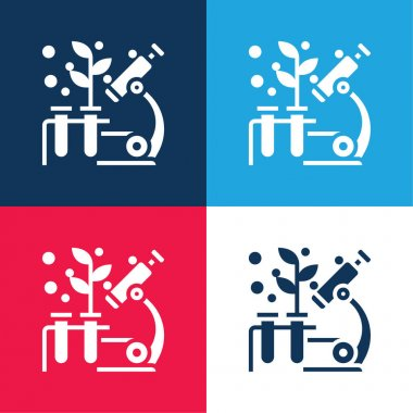 Biology blue and red four color minimal icon set stock vector
