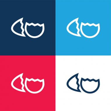 Birds Egg Broken In Two Parts Outline Symbol blue and red four color minimal icon set stock vector