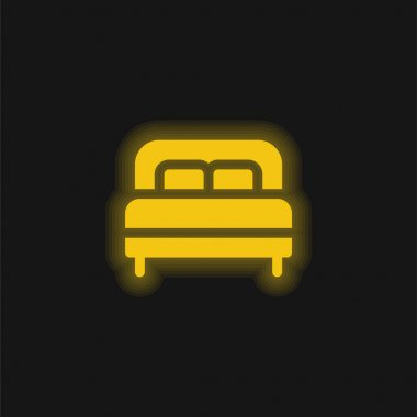Bed yellow glowing neon icon stock vector