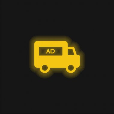 AD Van yellow glowing neon icon stock vector