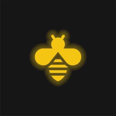 Bee yellow glowing neon icon stock vector