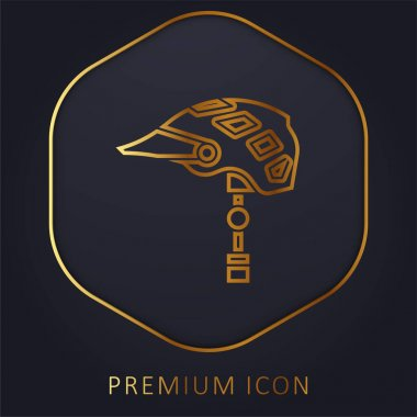 Bike Helmet golden line premium logo or icon stock vector