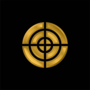 Aim gold plated metalic icon or logo vector stock vector