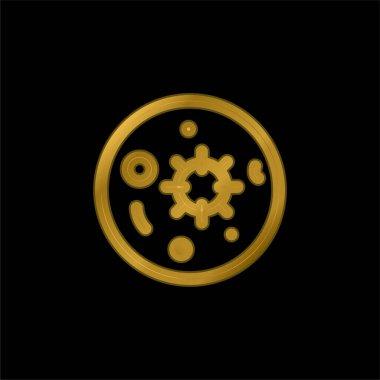 Kan testi altın kaplama metalik simge veya logo vektörü