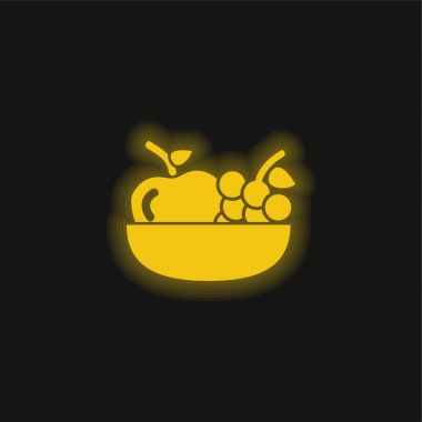 Apple And Grapes On A Bowl yellow glowing neon icon stock vector